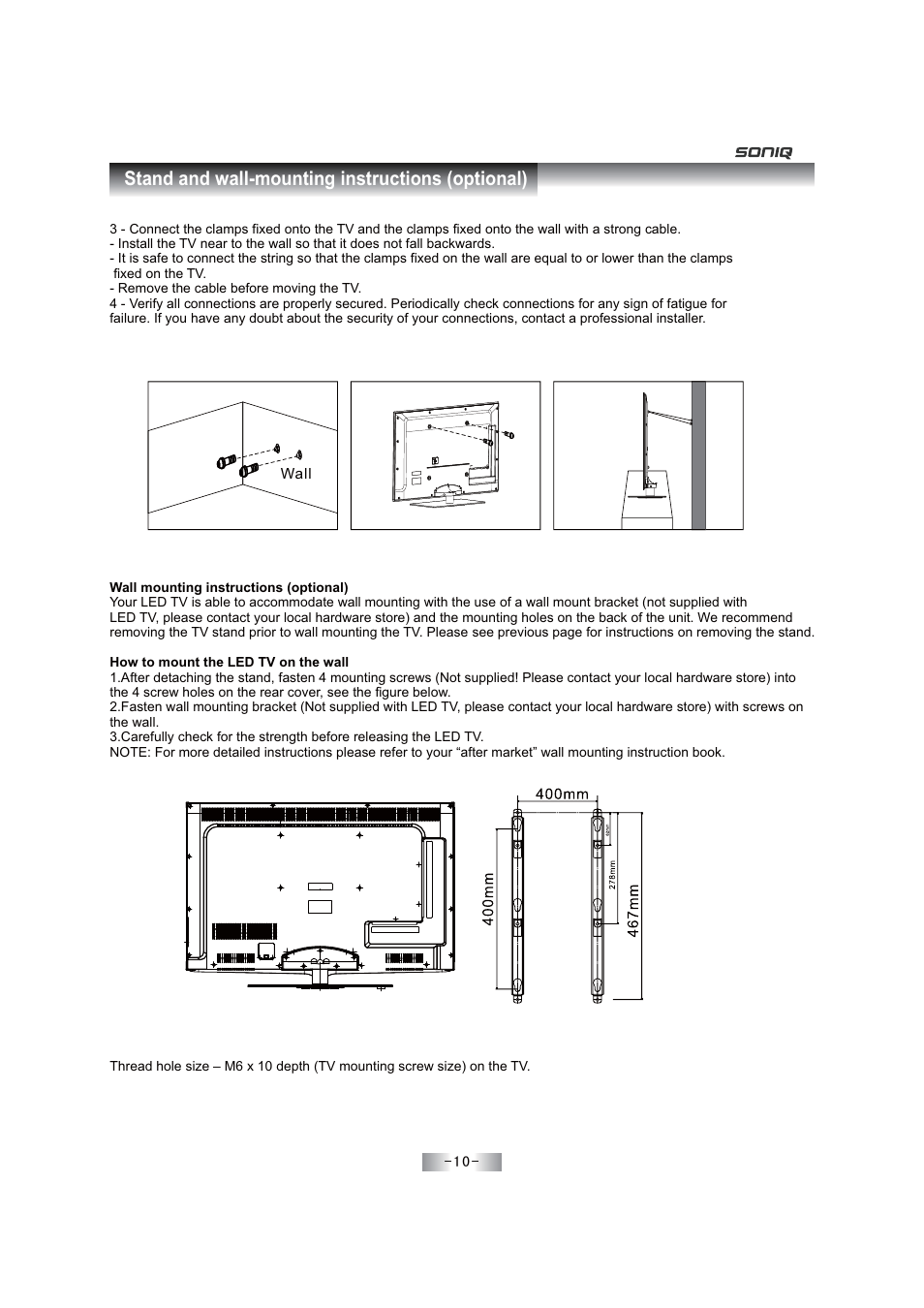 soniq tv wall mount instructions