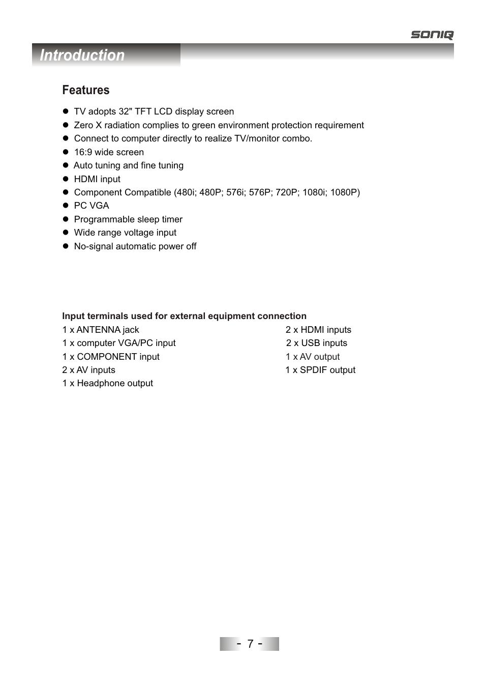 页 10, Introduction, Features | SONIQ L32V11D-NZ User Manual