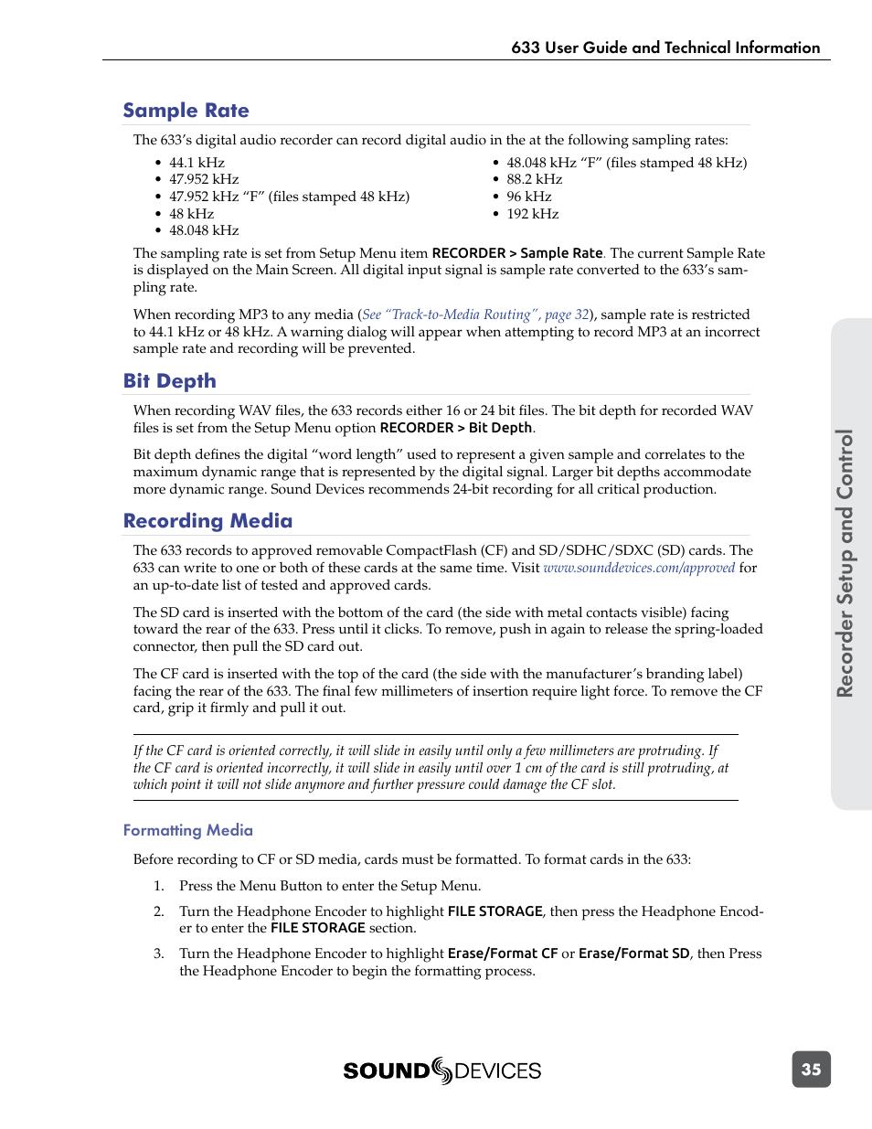 Sample rate, Bit depth, Recording media | Sound Devices 633 User