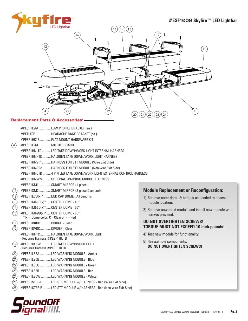 Esf1 øøø skyfire™ led lightbar, Module replacement or ... on