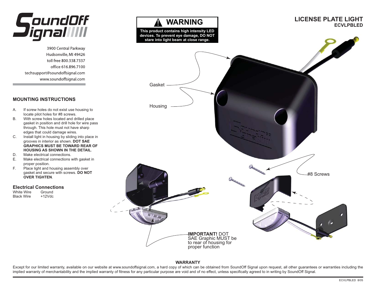 Soundoff Signal Led Compact License Plate Light User Manual 1 Page Tag Wiring Diagram