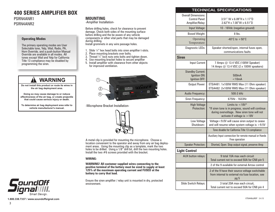 Soundoff Signal 400 Series Remote Amp Box User Manual