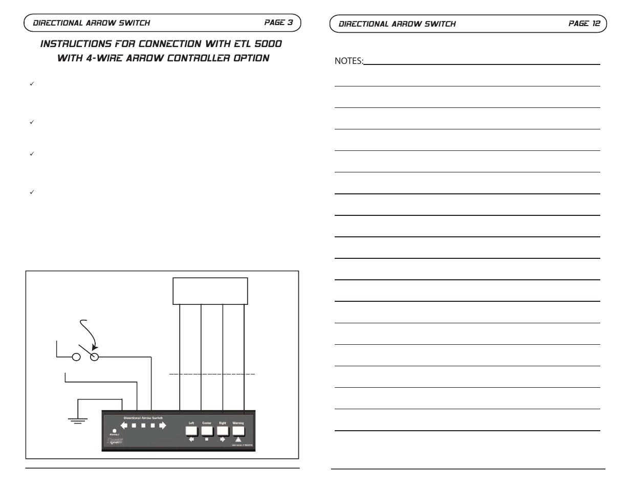 Directional Arrow Switch Page 3  Directional Arrow Switch Page 12