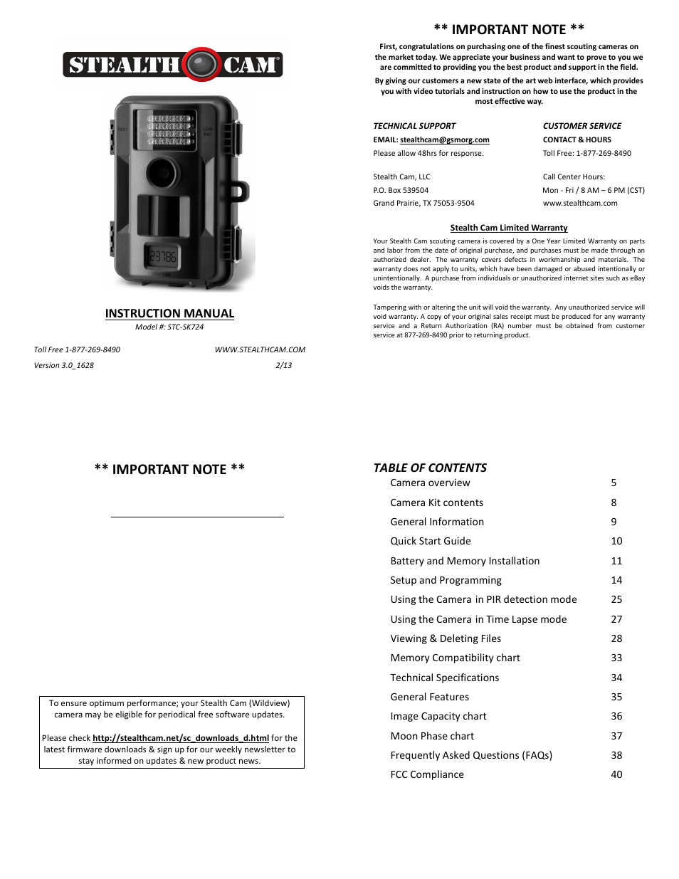 Stealth Cam STC-SK724 Skout 7 User Manual | 10 pages