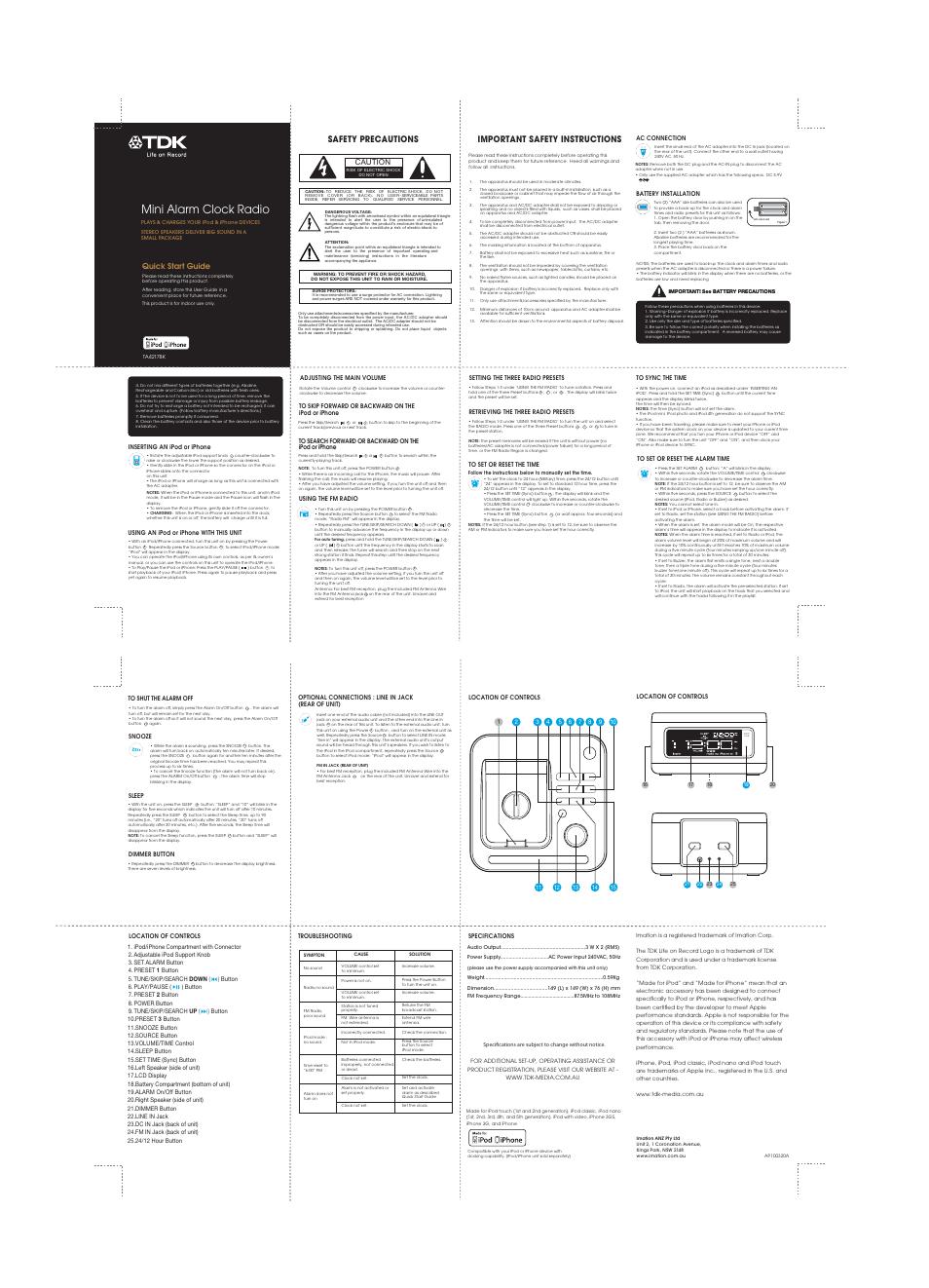 Tdk Ta4217 Clock Radio User Manual 1 Page