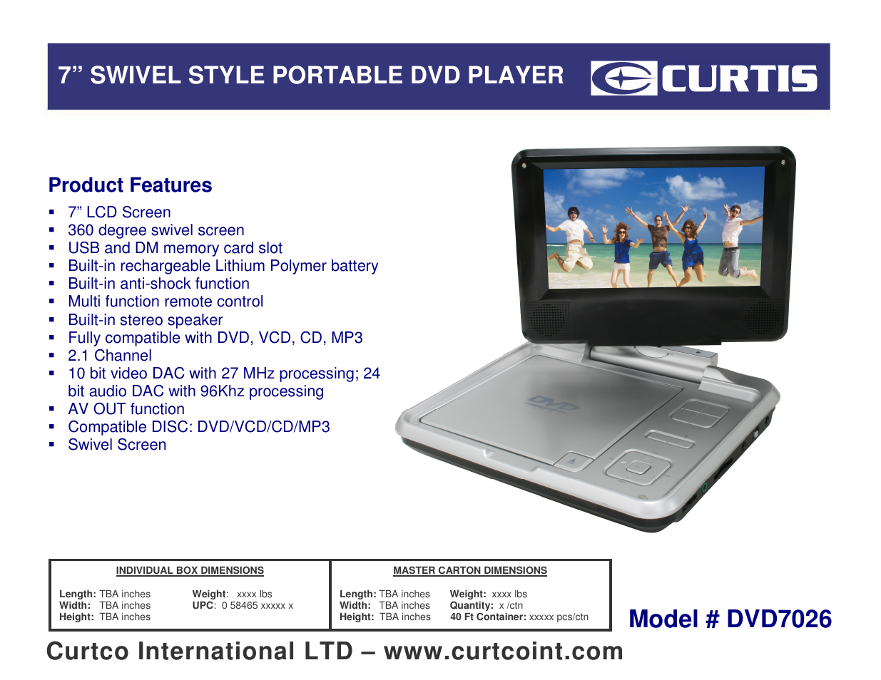 Curtis DVD7026 User Manual | 1 page