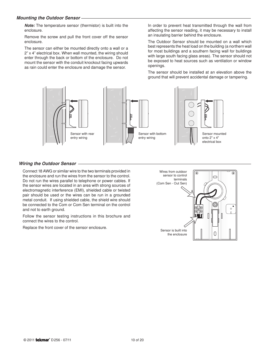 Tekmar 256 Wiring Diagram Libraries Outdoor Sensor Boiler Control User Manual Page 10 20 Original Mode
