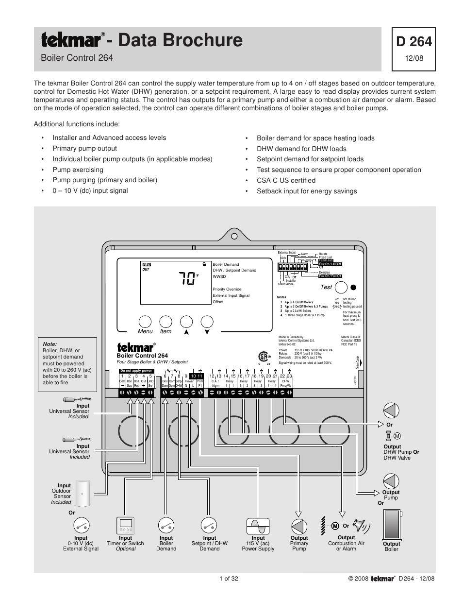 tekmar 264 boiler control page1 tekmar 264 boiler control user manual 32 pages tekmar 260 wiring diagram at readyjetset.co