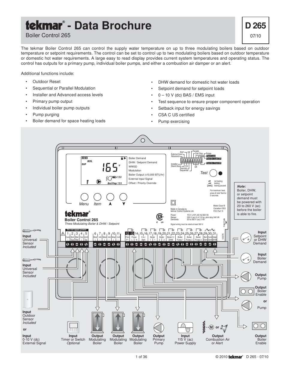 tekmar 265 Boiler Control User Manual | 36 pages