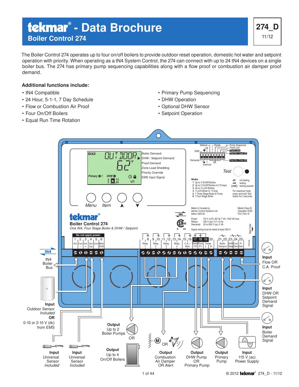 tekmar 274 boiler control user manual 44 pages rh manualsdir com tekmar 406 wiring diagram tekmar 665 wiring diagram