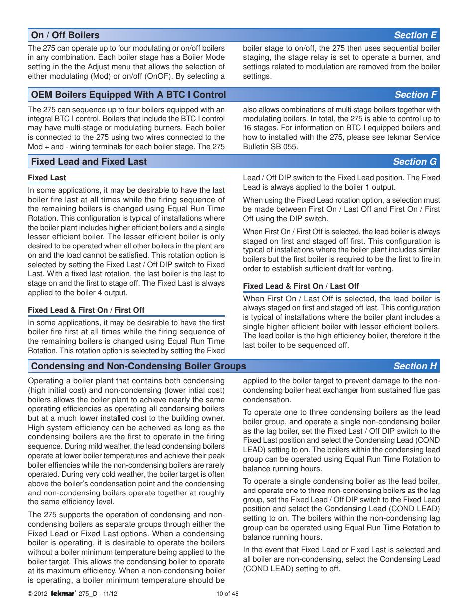 tekmar 275 Boiler Control User Manual | Page 10 / 48