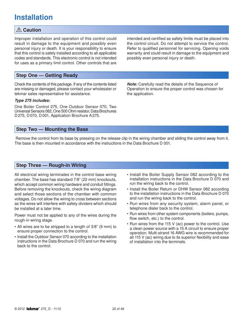 Installation Tekmar 275 Boiler Control User Manual Page 22 48 Controls Wiring Diagrams