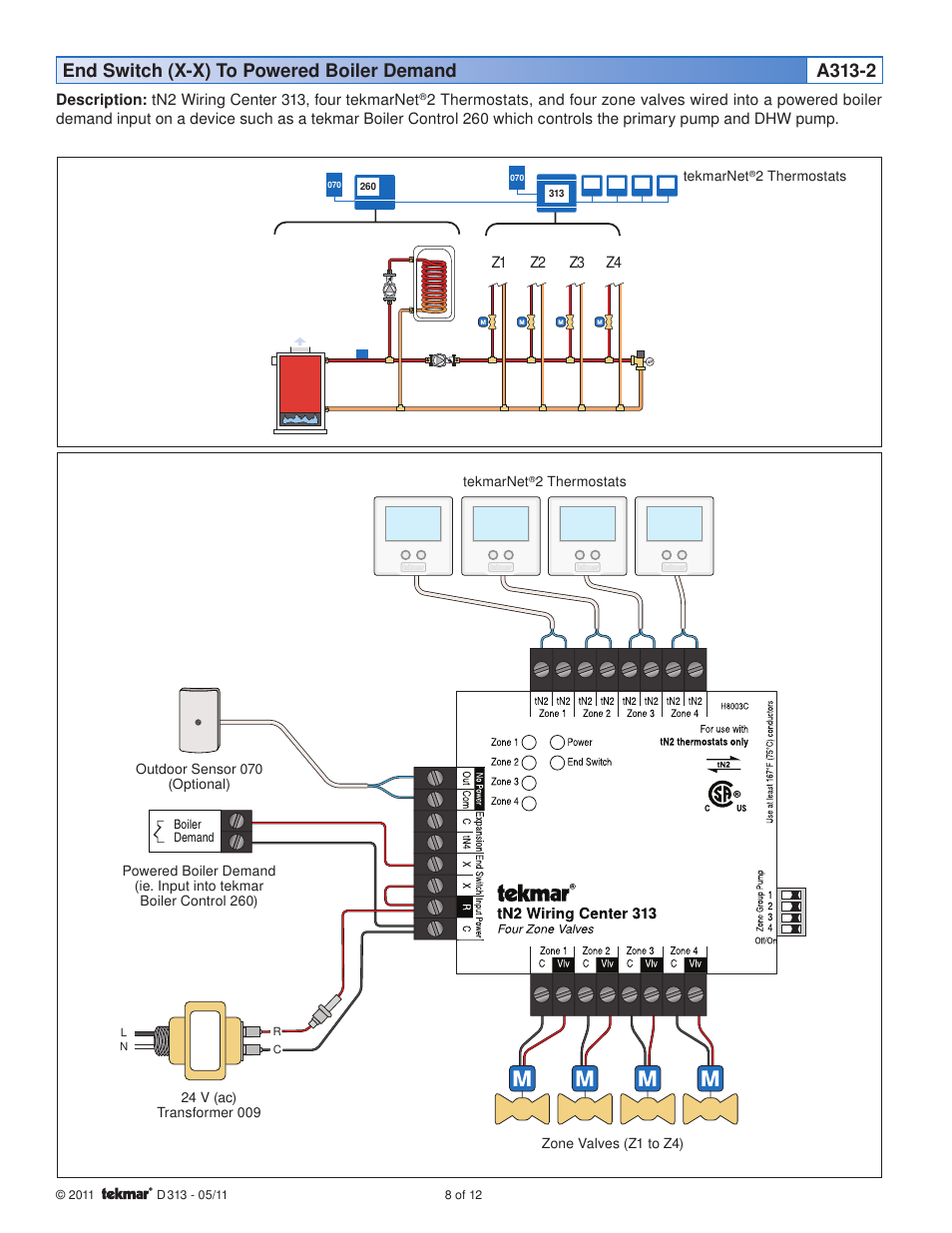 ford 900 wiring diagram end switch (x-x) to powered boiler demand a313-2 | tekmar ... #8