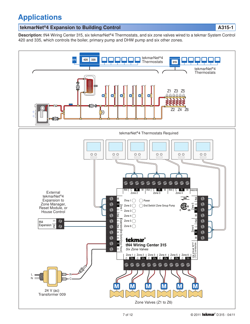 Tekmar Wiring Diagram Circuit Schematic Zone Valves Applications Tekmarnet Tn4 Center 315 3 Way