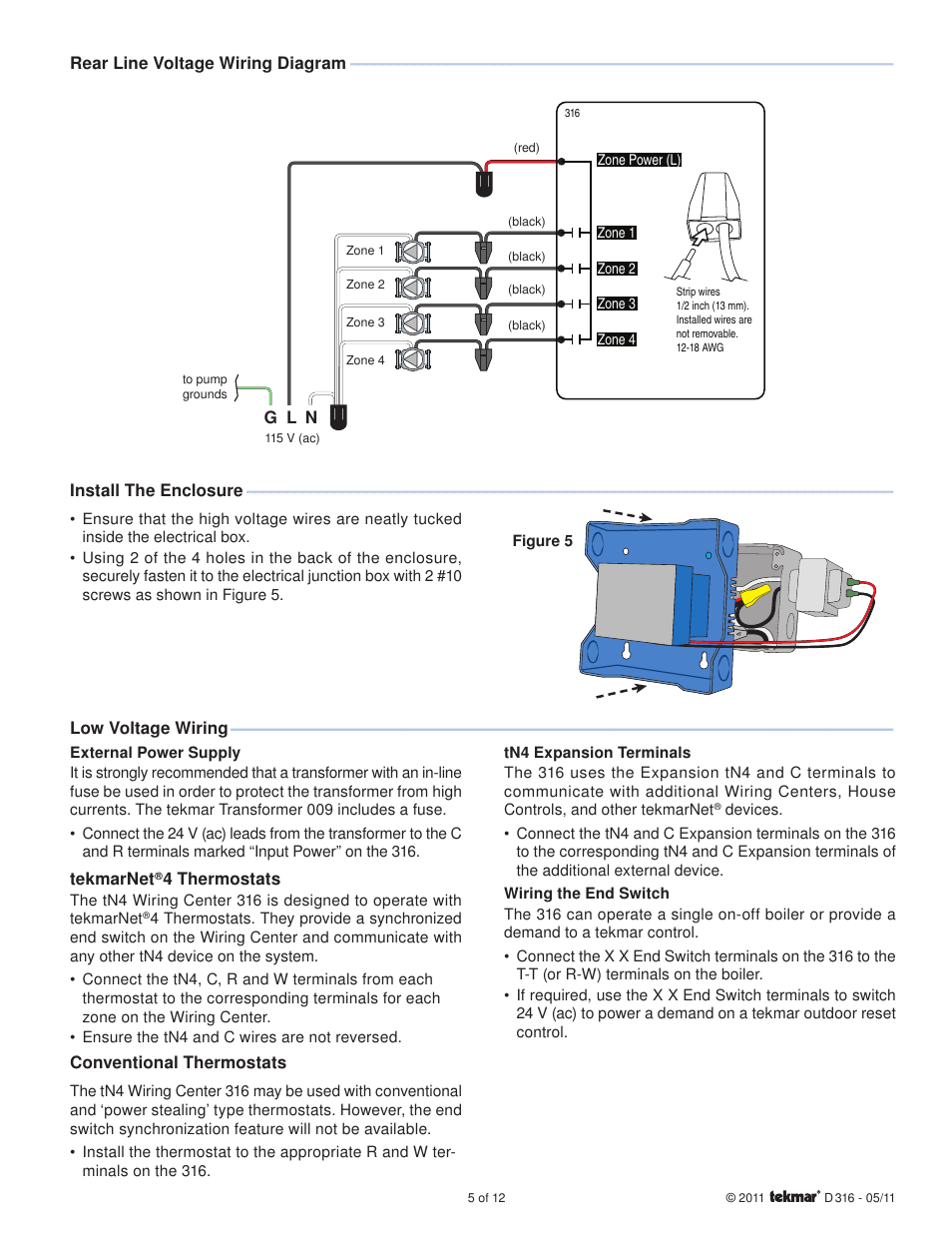 Tekmar 316 Tn4 Wiring Center Installation User Manual Page 5 12 Line Voltage Diagram