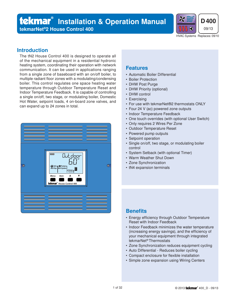 tekmar 400 House Control Installation User Manual | 32 pages