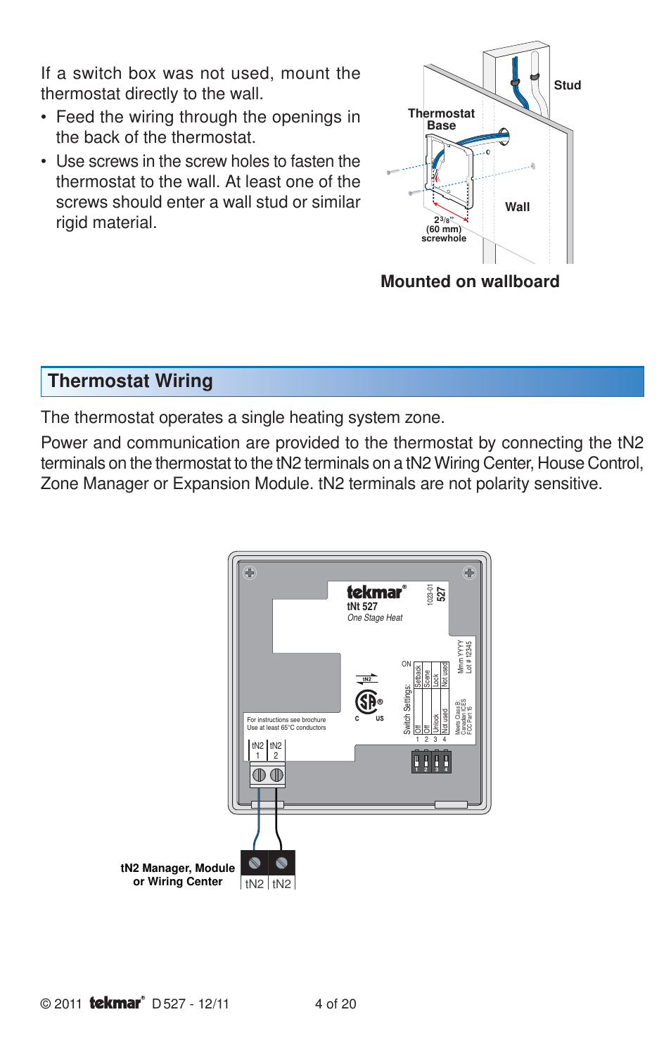 Thermostat Wiring Mounted On Wallboard Stud Tekmar 527 Diagram Installation User Manual Page 4 20