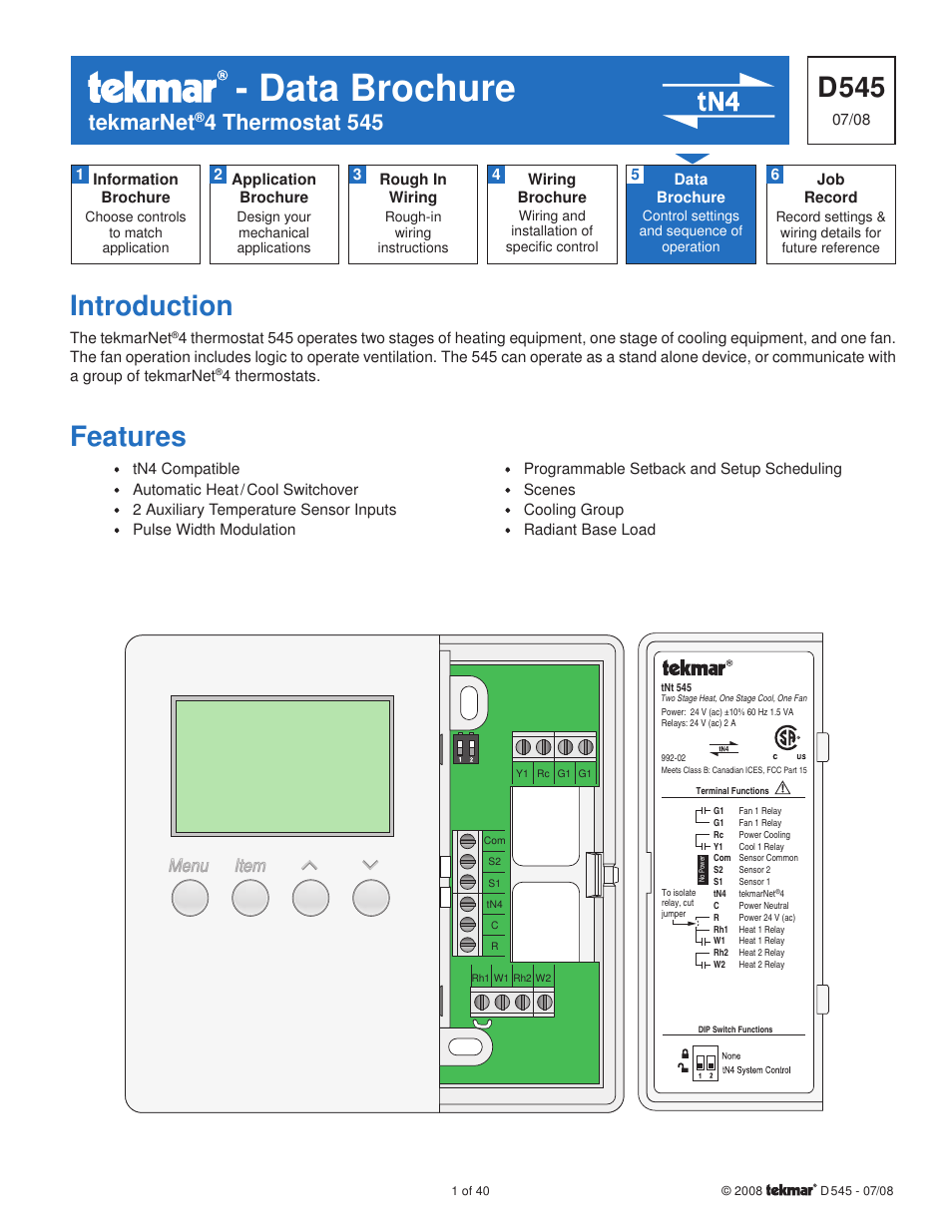 Tekmar 545 Thermostat Installation User Manual 40 Pages