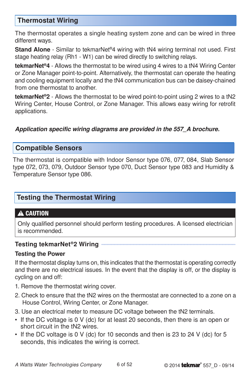 thermostat wiring, testing the thermostat wiring compatible sensors |  tekmar 557 thermostat installation user manual | page 6 / 52