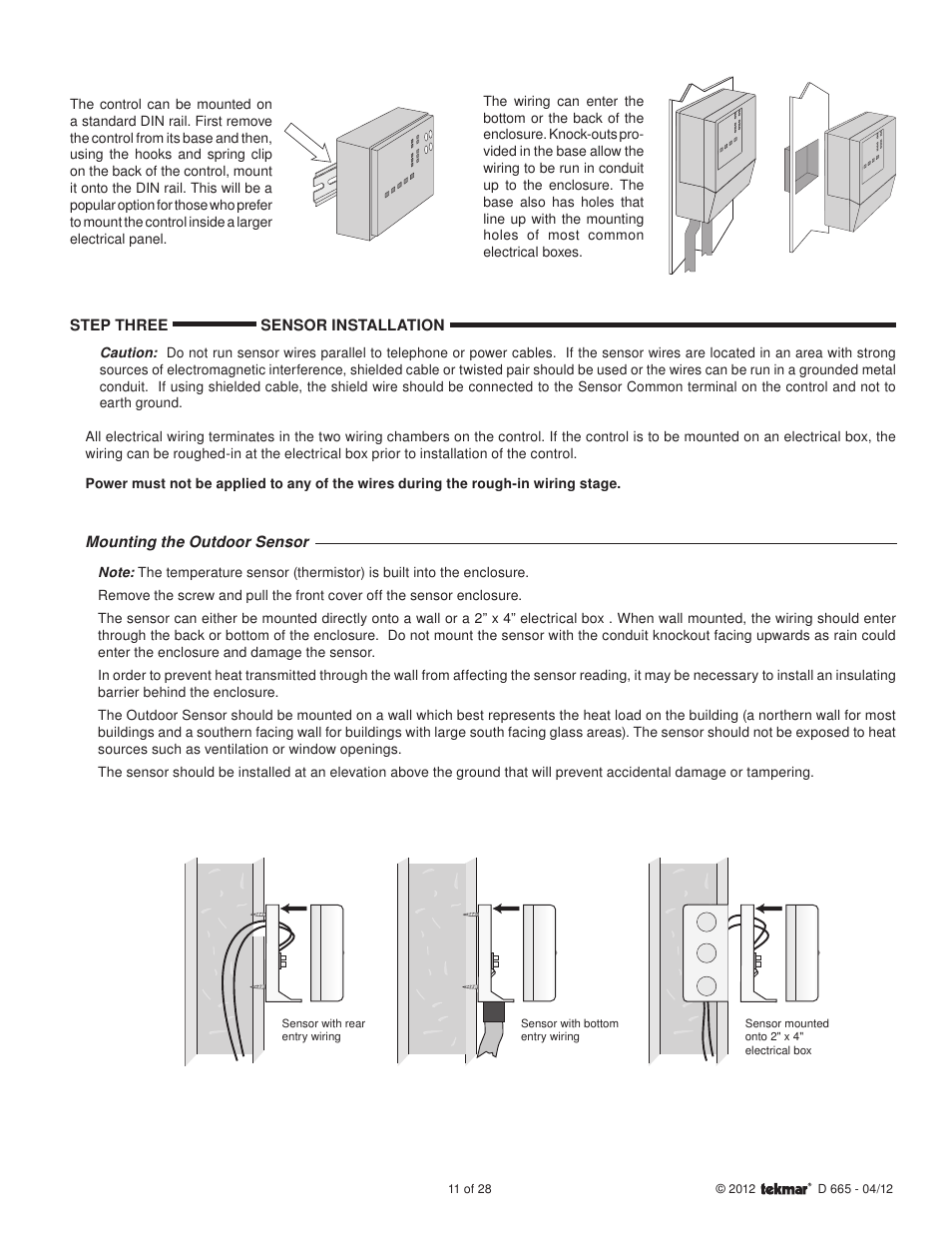 Tekmar 665 Snow Detector Melting Control Installation User Manual Wiring Diagram Page 11 28