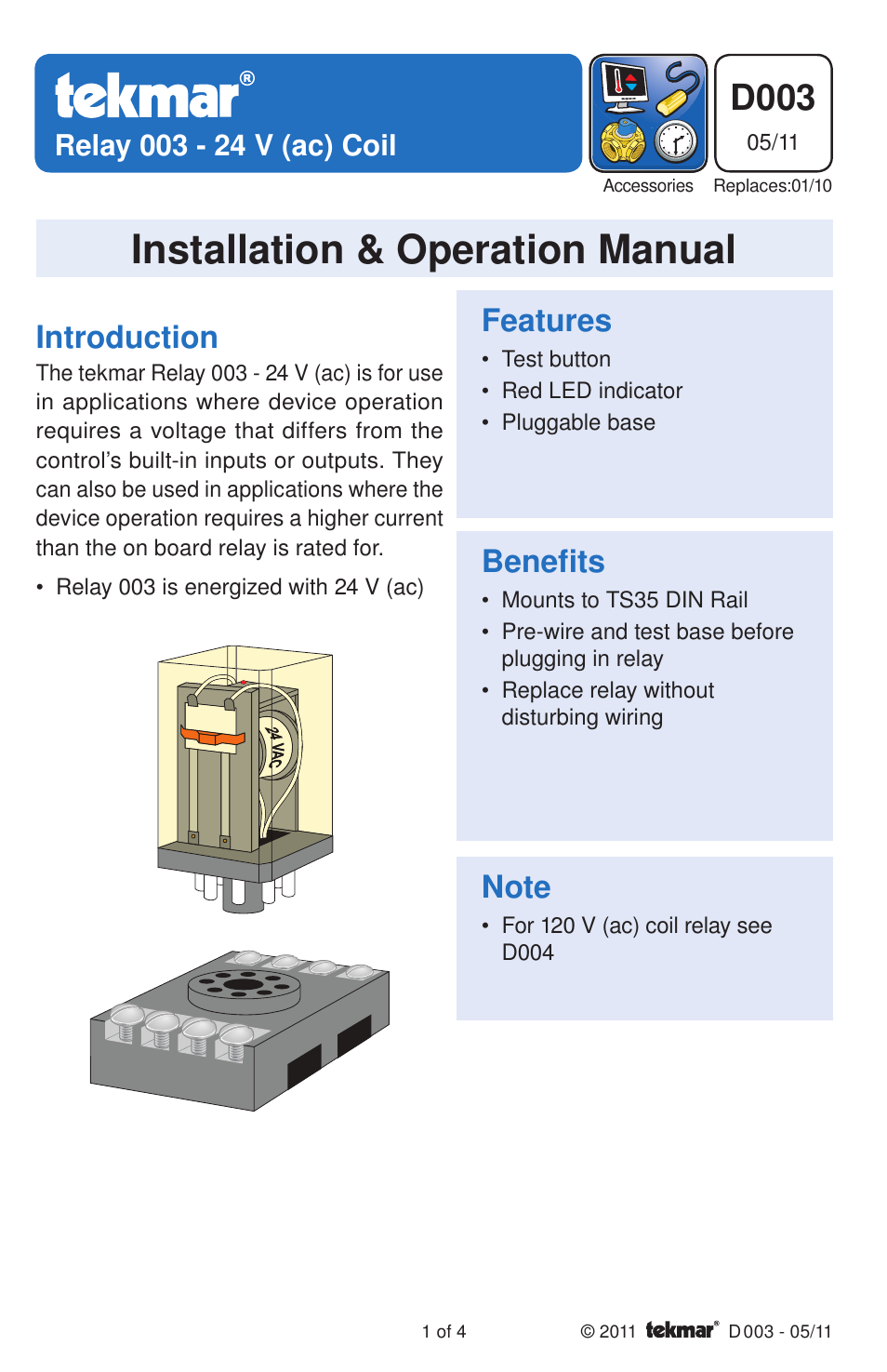 tekmar 003    Relay    User Manual   4 pages