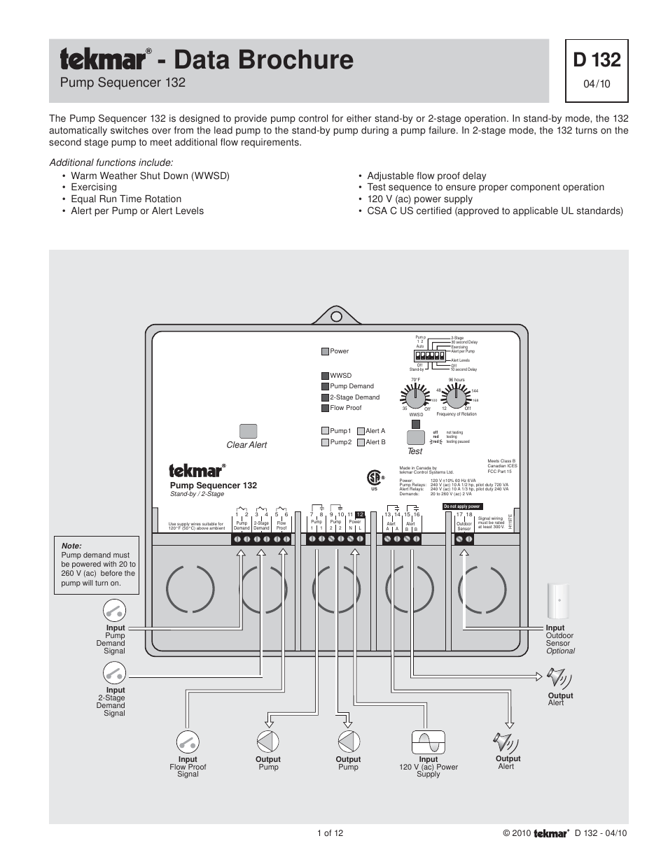 tekmar 132 pump sequencer page1 tekmar 132 pump sequencer user manual 12 pages tekmar 260 wiring diagram at readyjetset.co