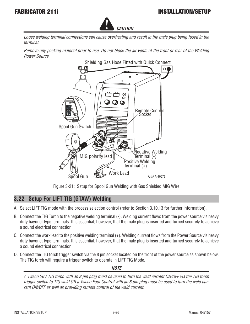 Fabricator 211i Installation Setup 22 For Lift Tig Gtaw Welding Line Diagram Tweco User Manual Page 58 96