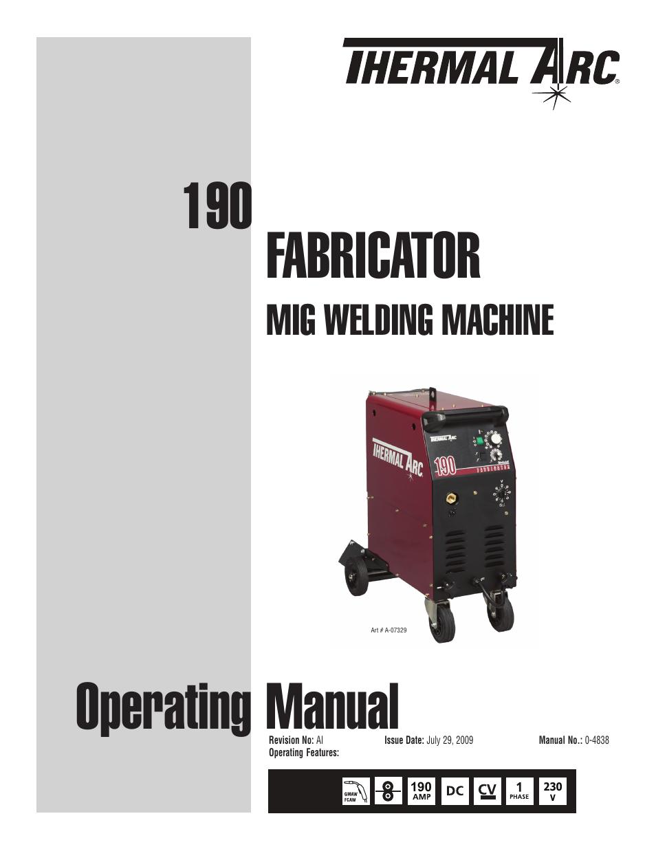 Hobart Fabricator Welder Wiring Diagram Find Century Mig Model 20511 Tweco 190 Thermal Arc User Manual 64 Pages Rh Manualsdir Com Schematics Lincoln