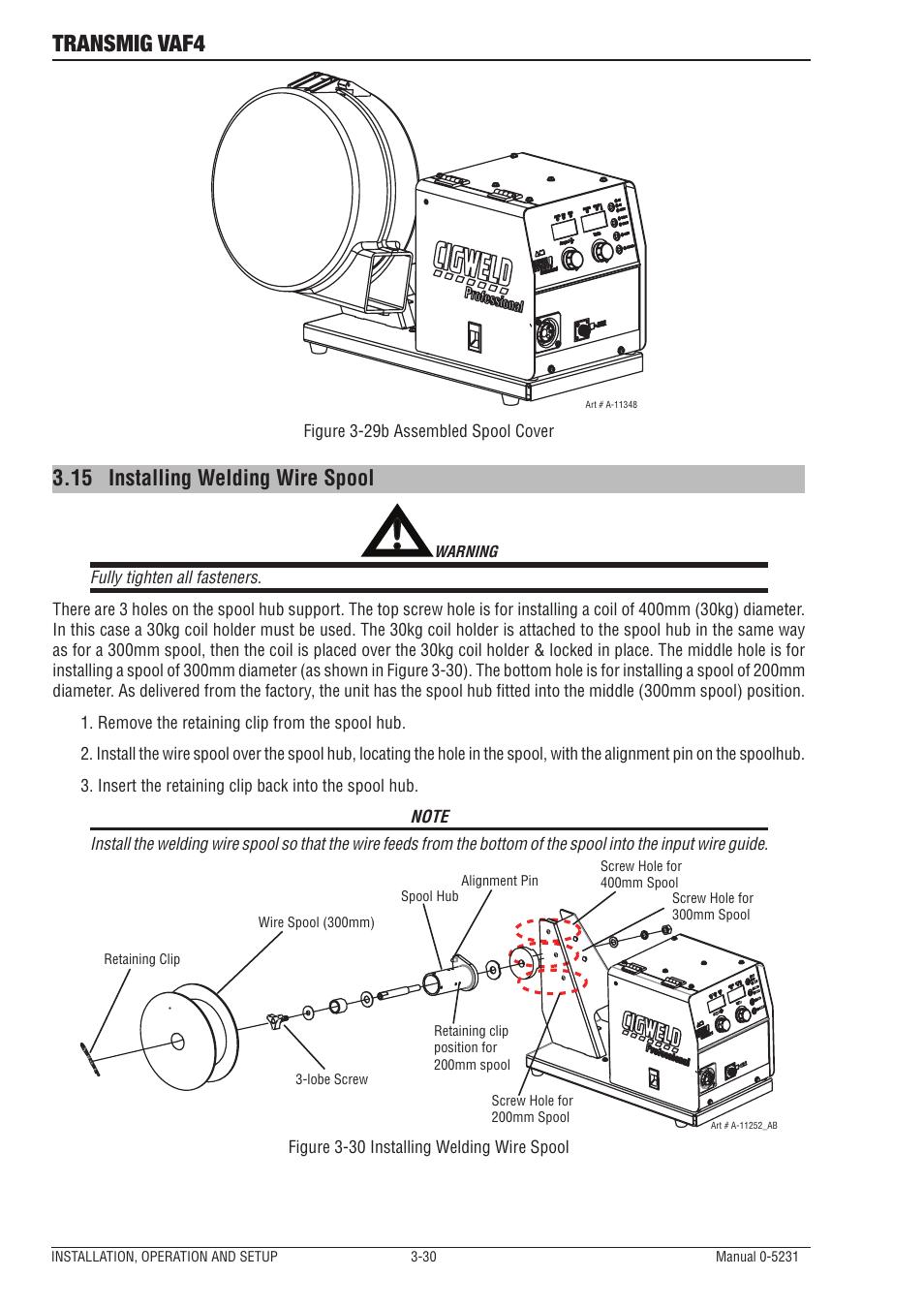 15 installing welding wire spool, Installing welding wire spool -30 ...