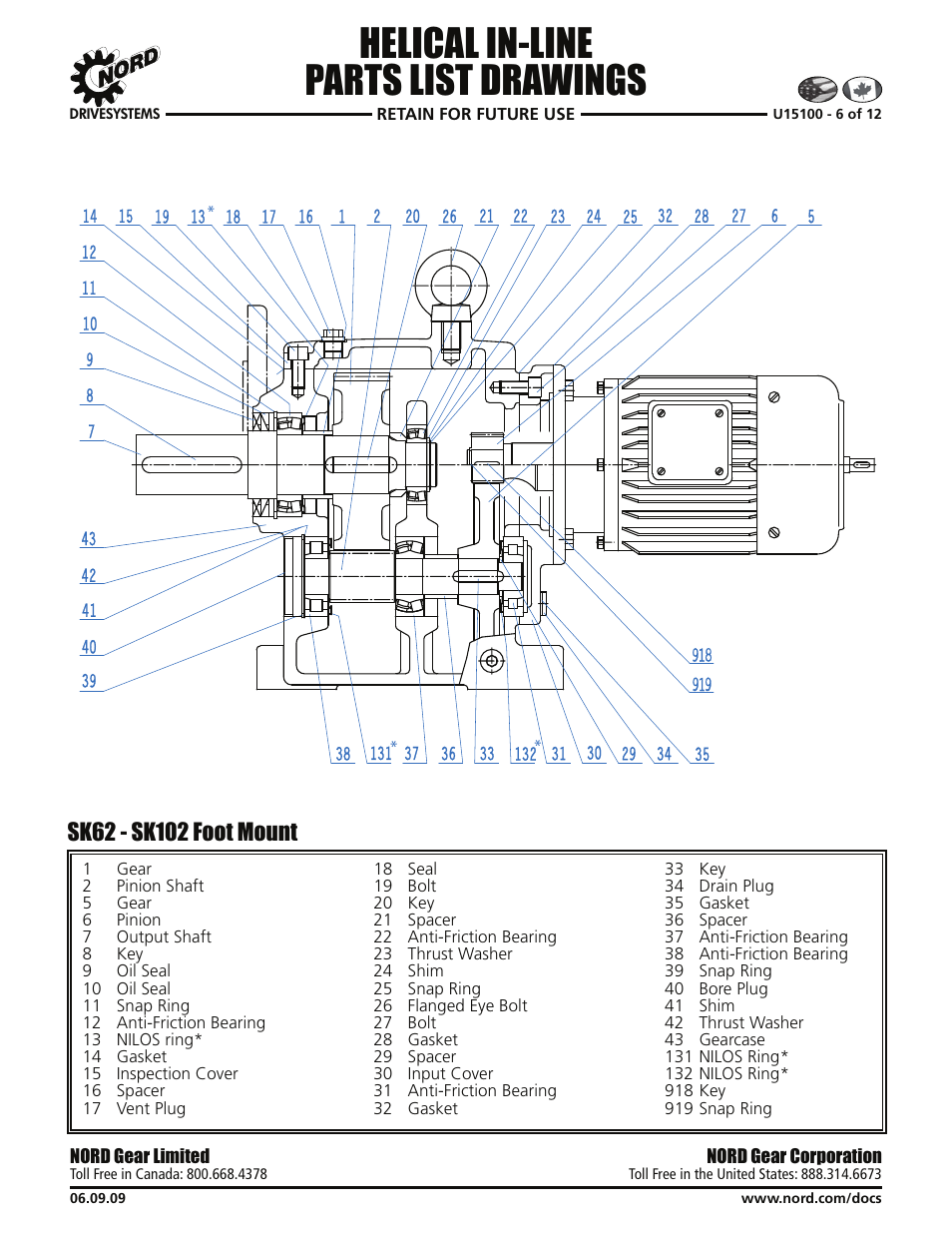 Helical in-line parts list drawings | Viking Pump NORD TSM For