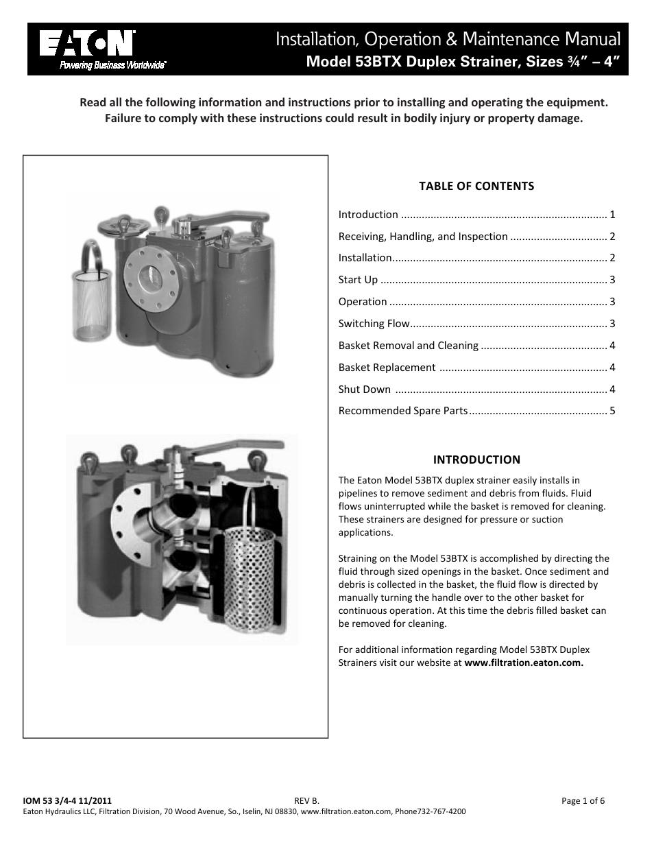 Viking Pump TSM641 1: Eaton Mod 53BTX Duplex Strainer User Manual