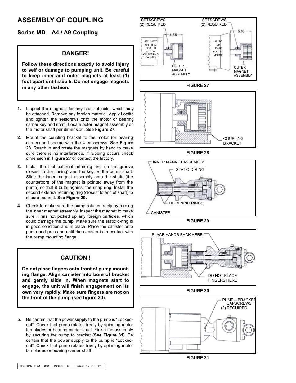 Assembly of coupling, Series md – a4 / a9 coupling danger, Caution | Viking  Pump TSM680: 895, 893 and 897 Mag Drive User Manual | Page 12 / 17