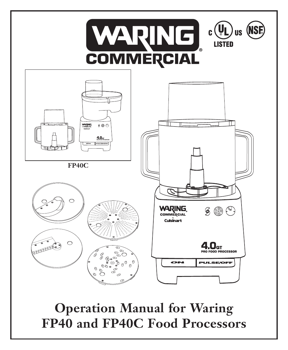 Operation manual for waring wfp7e/k food processor. Nisbets.