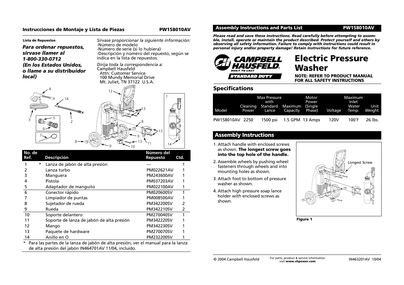 campbell hausfeld pw158010av user manual 6 pages original mode rh manualsdir com For Campbell Hausfeld Air Compressor Model Mt500101 Manual Campbell Hausfeld Pressure Washer Manual