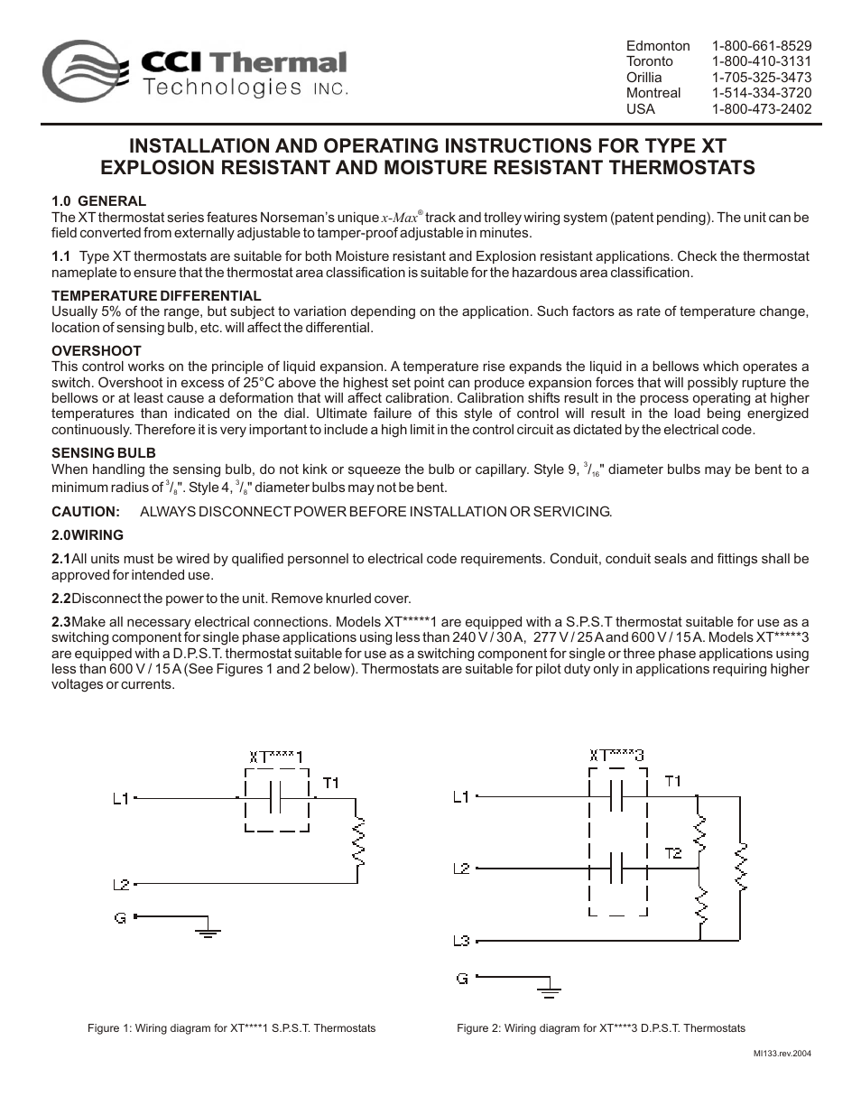 CCI Thermal Technologies XTK-12 - Thermostat Installation Kit (Process  Heating Applications) User Manual | 2 pages | Also for: XTK-04 - Thermostat  ...