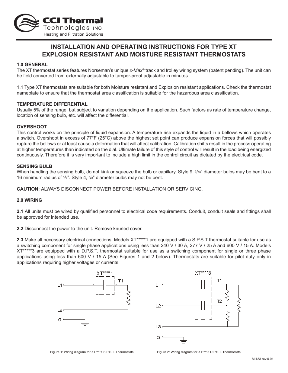 Cci Thermal Technologies Norseman Xtk 12 Thermostat Installation Dpst Wiring Diagram Kit Process Heating Applications User Manual 3 Pages Also For Xtb