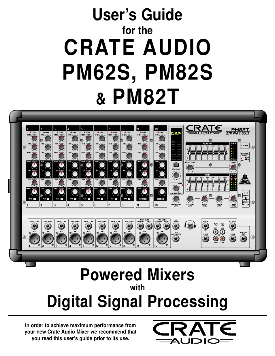 crate amplifiers pm82s user manual 12 pages also for pm82t pm62s rh manualsdir com Crate Amps crate powered mixer manual