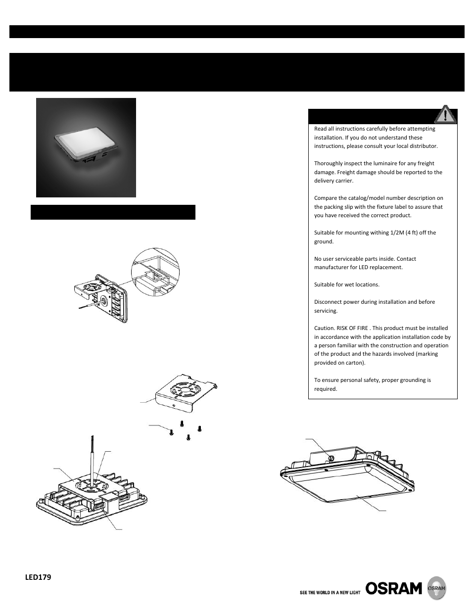 Osram Sylvania Propoint Outdoor Luminaire Small Light Pack User Junction Box Wiring Manual 2 Pages