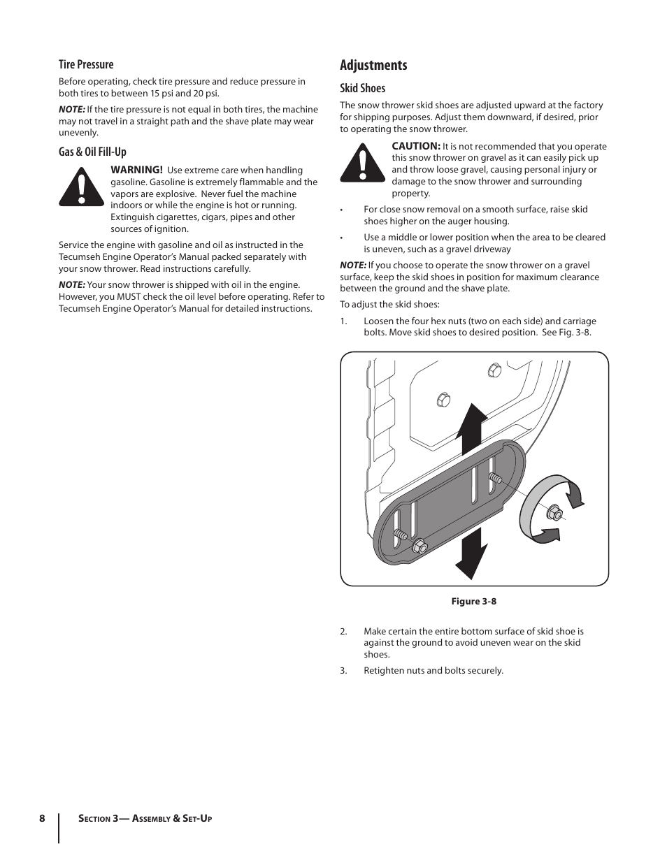 Adjustments, Tire pressure, Gas & oil fill-up | Cub Cadet 526 WE User Manual  | Page 8 / 24