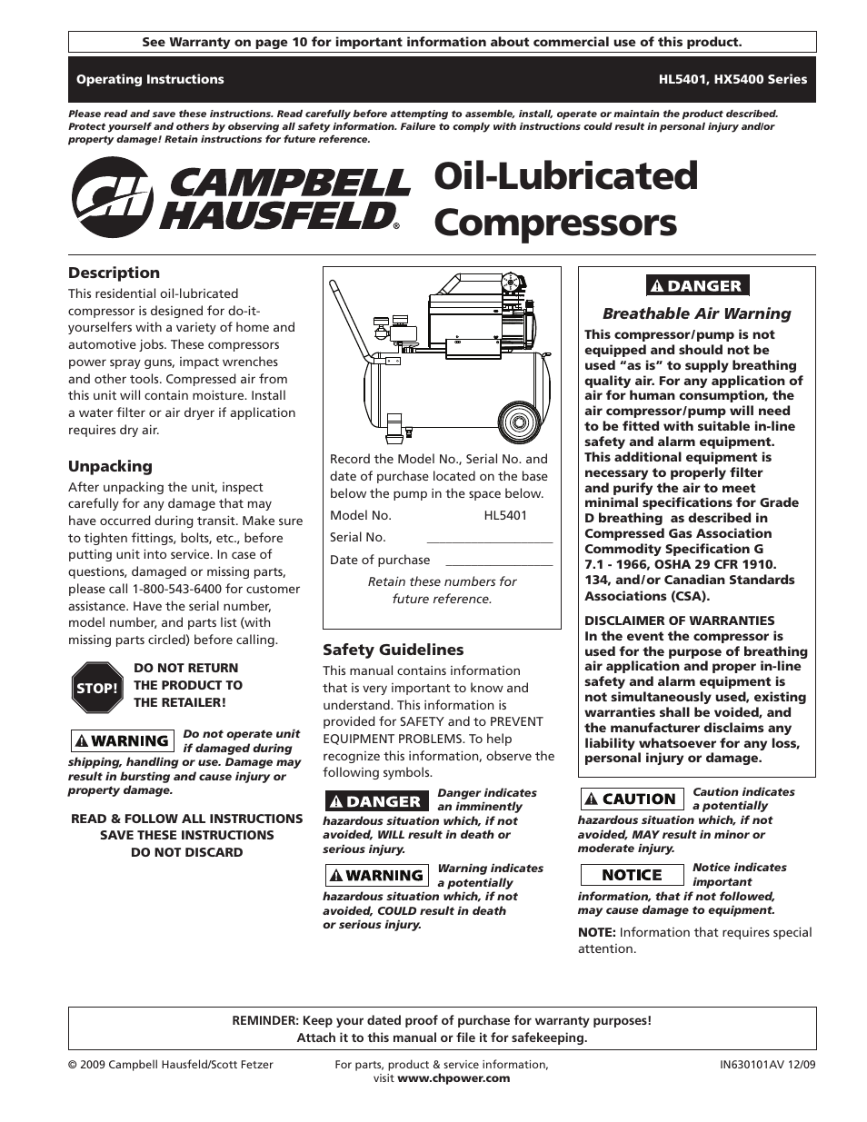 campbell hausfeld hl5401 series user manual 32 pages also for rh manualsdir com Online Manual