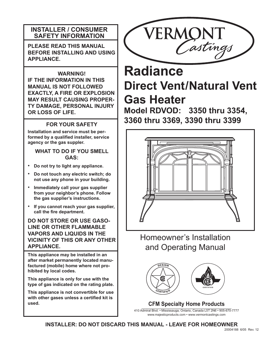Vermont Casting Rdvod 3369 User Manual 40 Pages Also