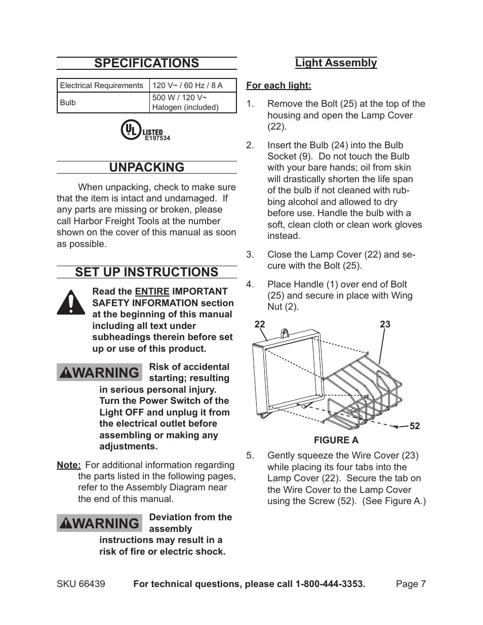 Warning Specifications Unpacking Chicago Electric 500 Watt Twin Warn Halogen Light Wiring Diagram Tripod 66439 User Manual Page 7 12