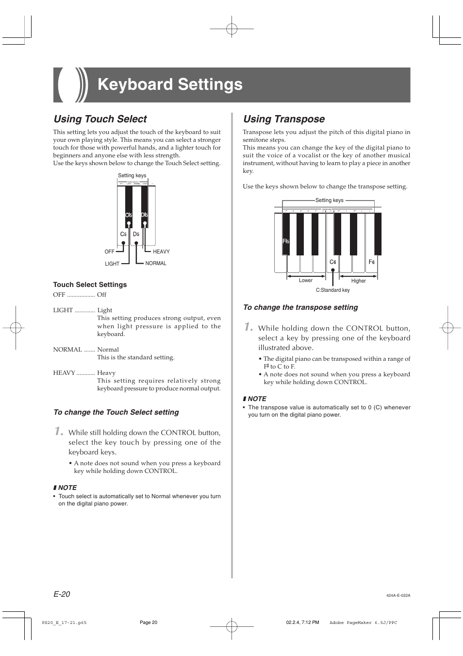 Keyboard settings, Using transpose, Using touch select