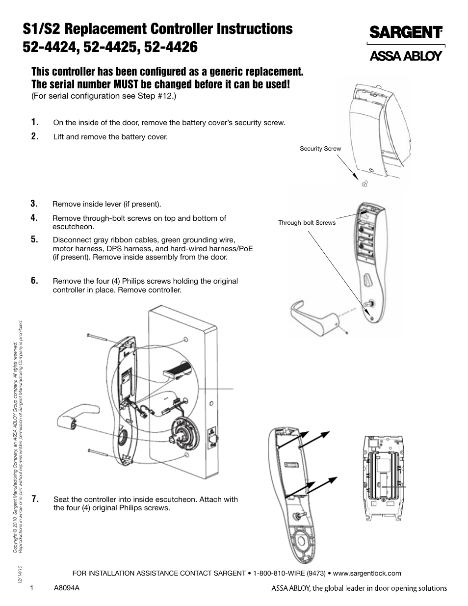 Sargent Profile Series Vs1 Poe Cylindrical Lock User Manual 2 Security Contacts Wiring Pages Also For Vs2 Locks Mortise