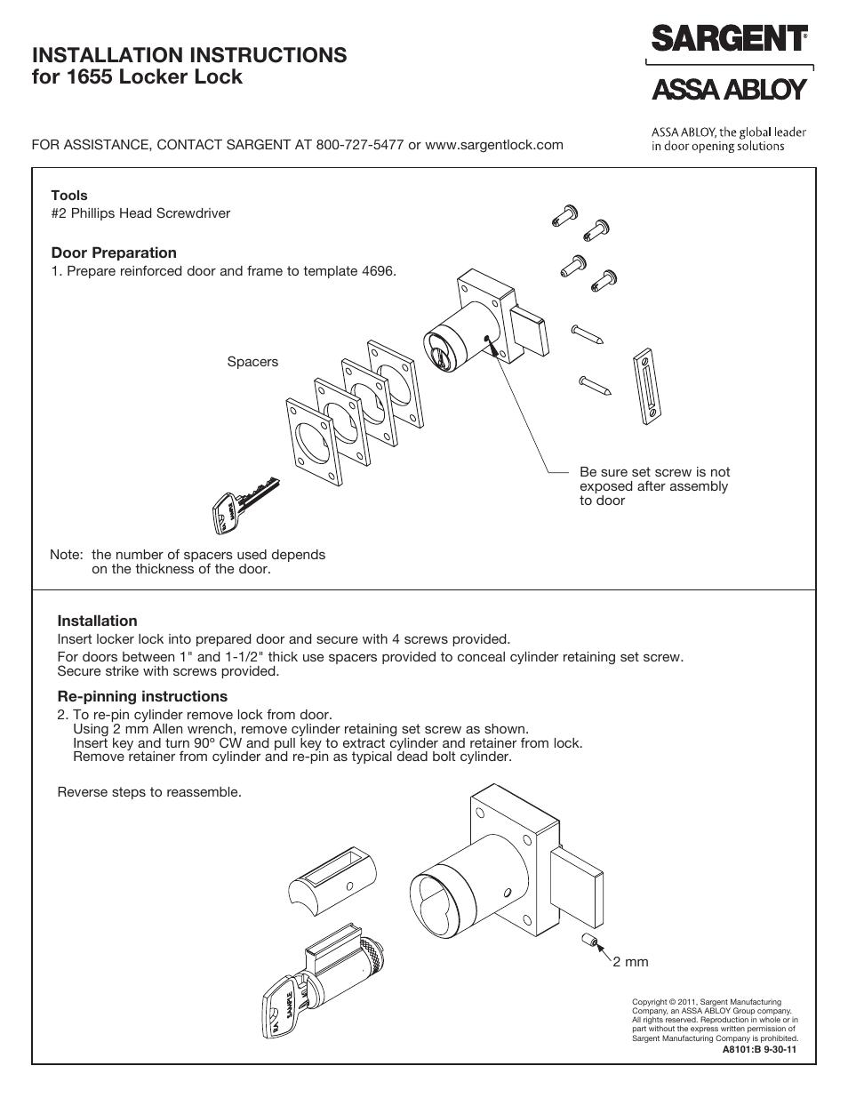 Sargent 1655 Locker Lock User Manual 1 Page