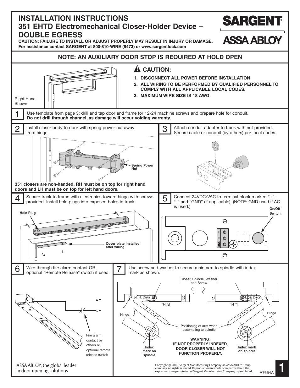Sargent 351 Eht Ehtd Electromechanical Closer Holder User Manual 3 Htd Wiring Diagram Pages