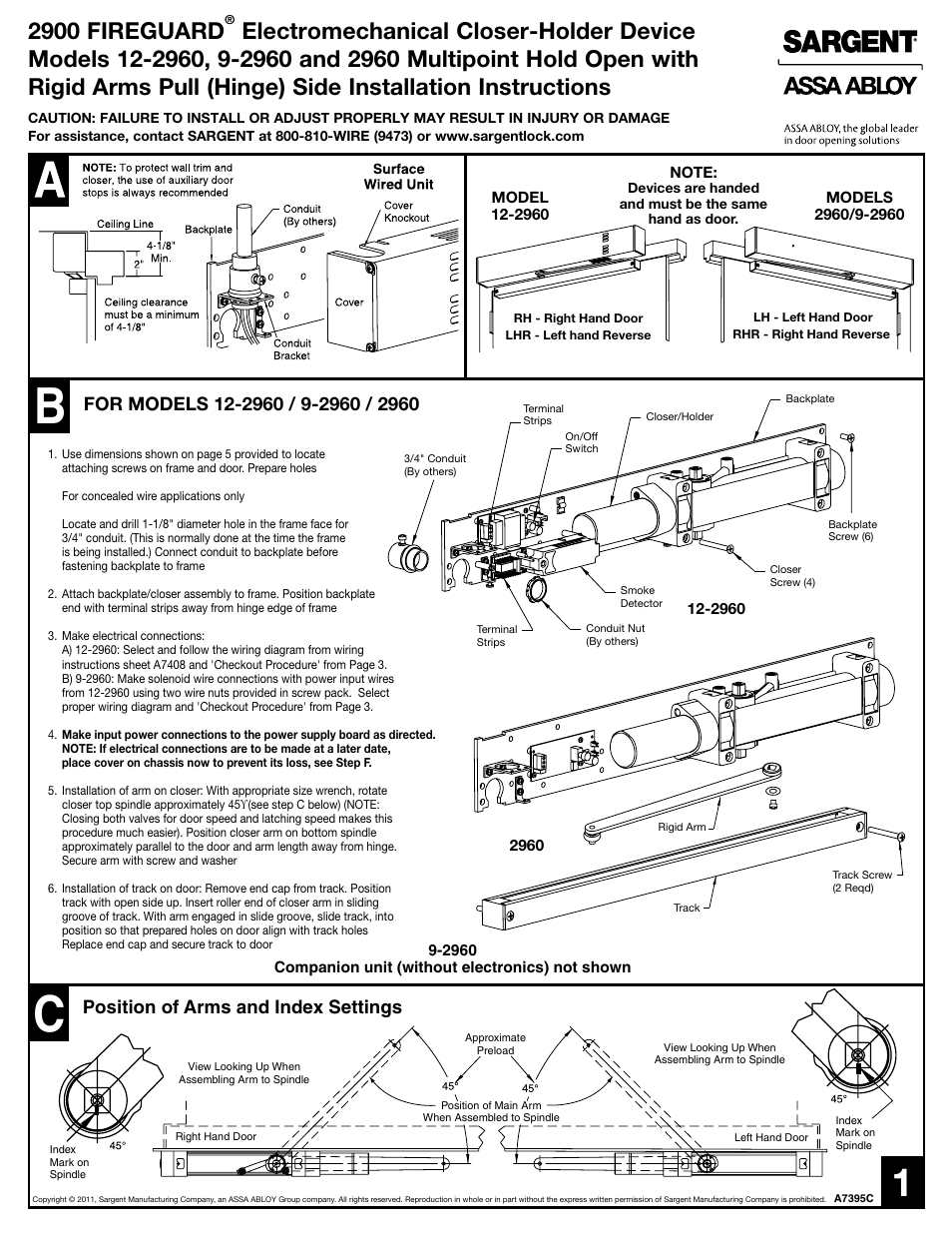 sargent 2900 fire guard electromechanical closer holder user manual rh manualsdir com sargent as210 wiring diagram sargent ec450 wiring diagram