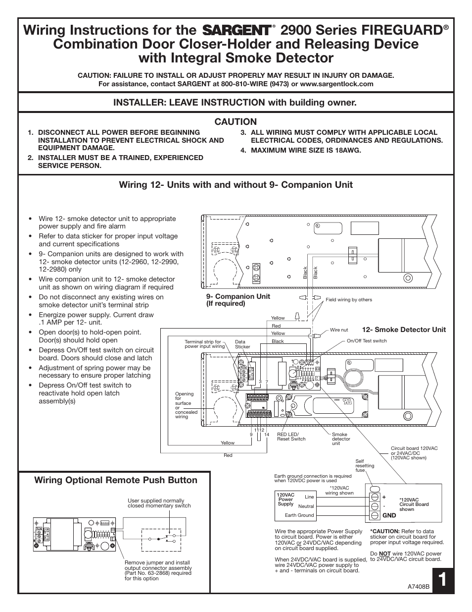Sargent 2900 Fire Guard Electromechanical Closer Holder User Manual Wiring Diagram 8 Pages