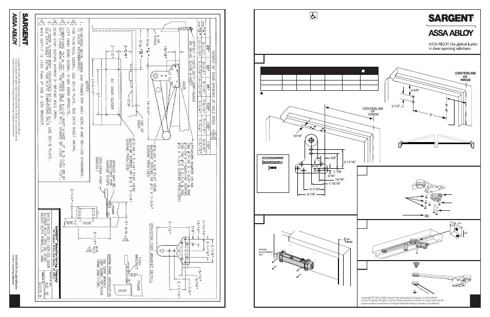 Sargent 351 Series Aluminum Closer User Manual 4 Pages