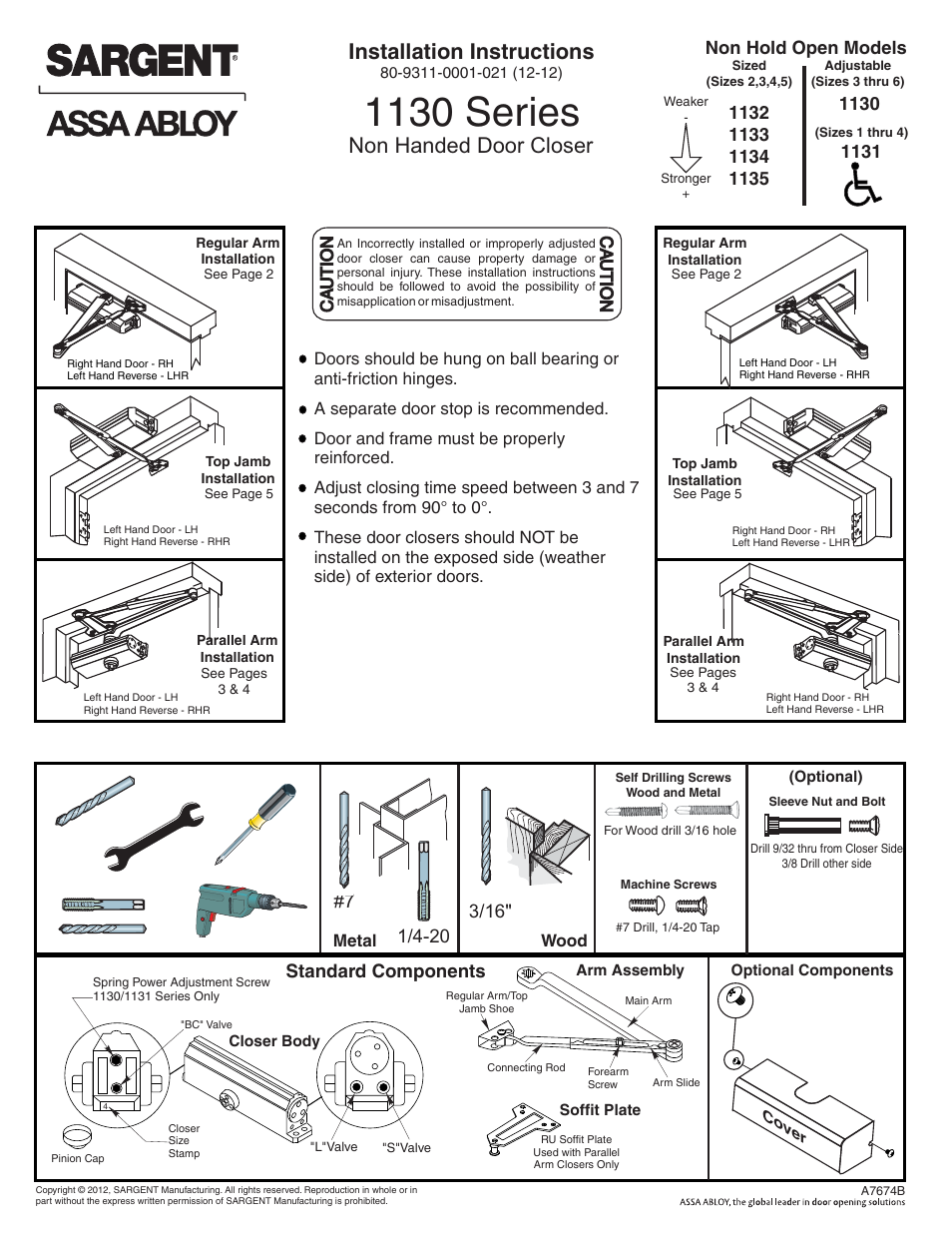 Sargent 1130 Series User Manual 6 Pages